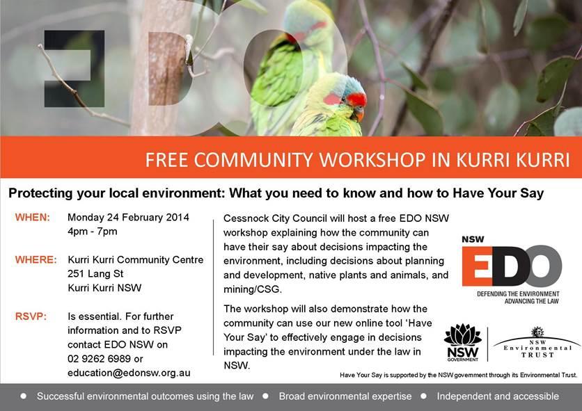 EDO workshop Kurri Kurri