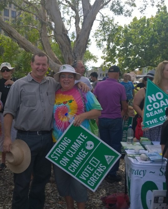 JR with Jan Davis and various greens at March in March
