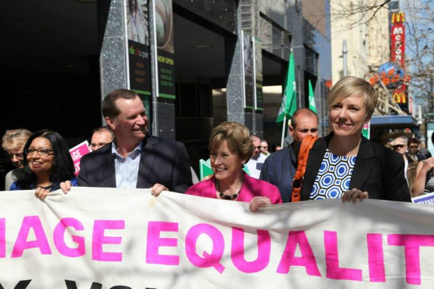 JR with M Faruqi, C Milne and C Faehrmann at Marriage Equality Rally July 2013